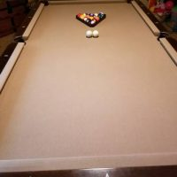 "8"" Pool Table- Slate Top Carved, Easy To Move"