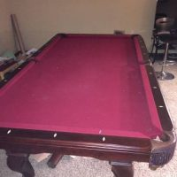 Burgundy Felt Billiard Table